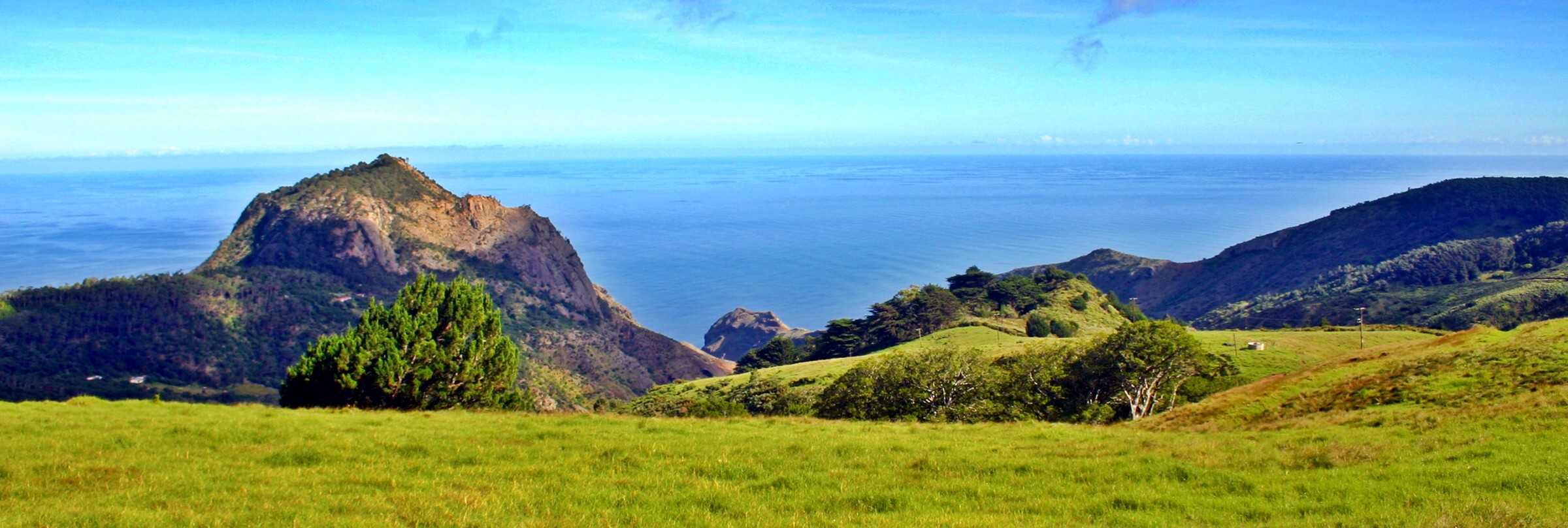 Scenic view across 'Old Woman Valley' featuring 'High Hill' Saint Helena Island Info Photography