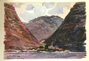 Jamestown from the sea Saint Helena Island Info Artists