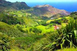 Lush green valleys of St Helena