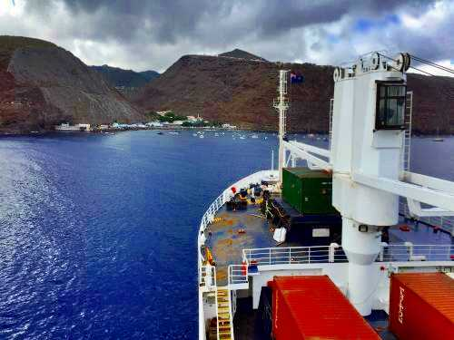 The RMS arriving at Jamestown, St Helena [Saint Helena Island Info:Fishing]