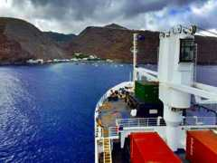 The RMS St Helena arriving at Jamestown, St Helena