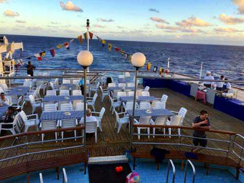 The sun deck of the RMS, laid for the barbecue [Saint Helena Island Info:Fishing]