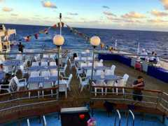 The sun deck of the RMS St Helena, laid for the barbecue