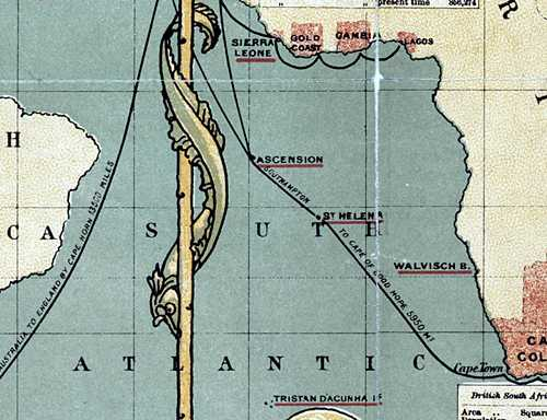 Extract from an 1886 map [Saint Helena Island Info:Where is St Helena?]