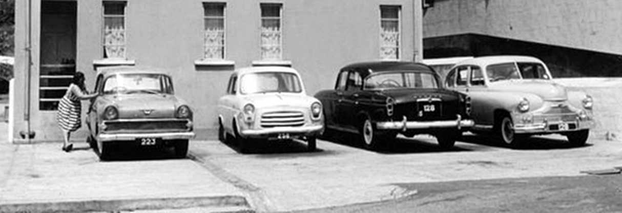 Jamestown car park, 1968 [Saint Helena Island Info:Classic Cars]