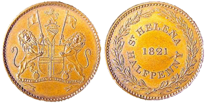 1821 Ha'pennies from The East India Company