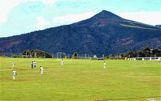 Cricket being played on Francis Plain, a ground where various outdoor sports take place in Saint Helena