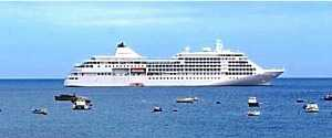 Cruise ship in James Bay Saint Helena Island Info Cruise Ship Days