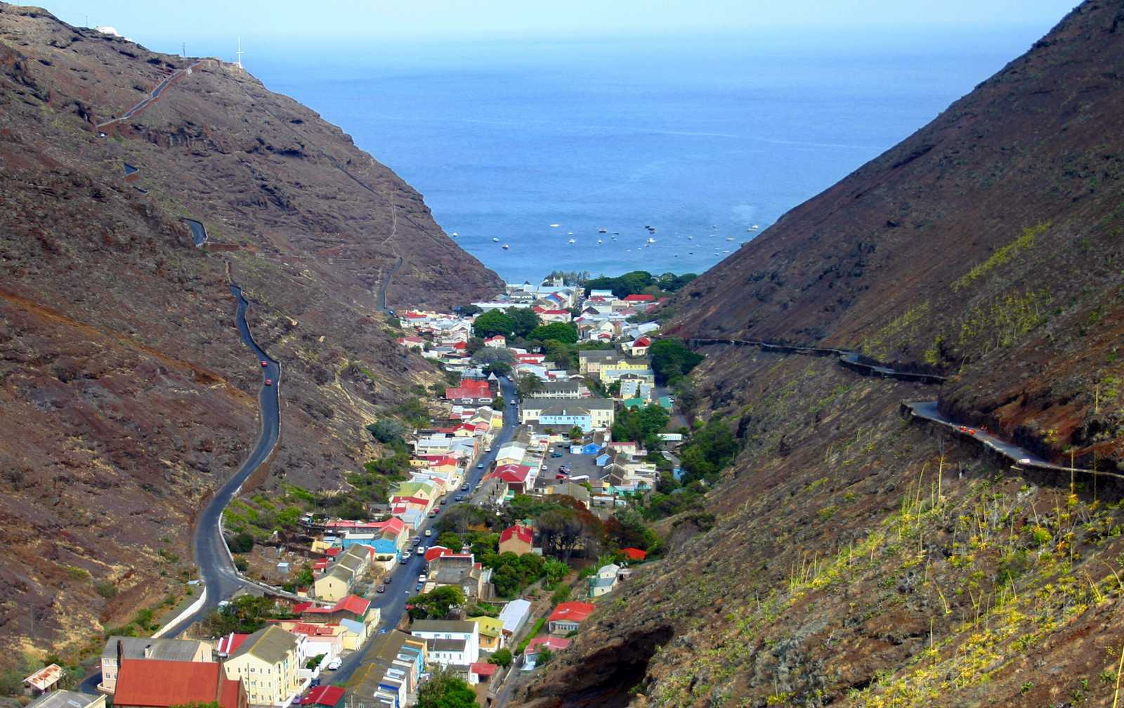 Jamestown from the south Saint Helena Island Info