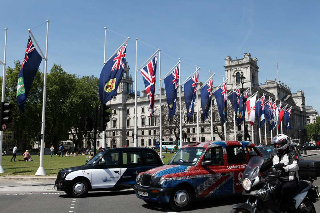 Our flag, flying in Whitehall, London, in 2013 (4th to the right of the Union Flag) [Saint Helena Island Info:Our Flag]