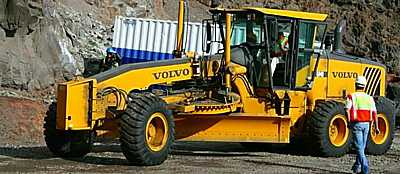 A Volvo grader is used for fine finishing work at the new airport construction site, as well as for maintenance of the haul road [Saint Helena Island Info:Building St Helena Airport]