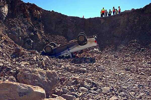 A construction truck had an accident (nobody hurt, fortunately) [Saint Helena Island Info:Building St Helena Airport]