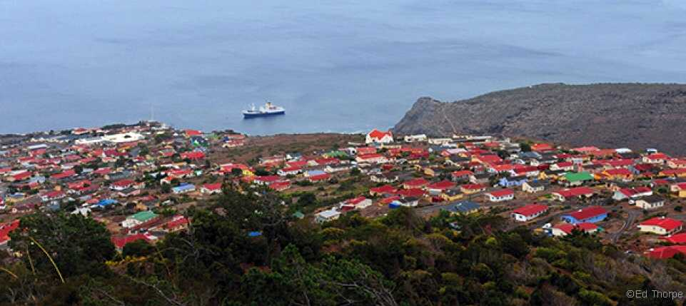 The RMS at anchor in Jamestown Bay, off the Half Tree Hollow suburb and controversial site for the planned new prison [Saint Helena Island Info:Read articles about St Helena (Older)]