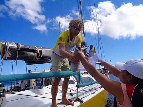 'Black Cat' receives champagne [Saint Helena Island Info:The Governor's Cup]