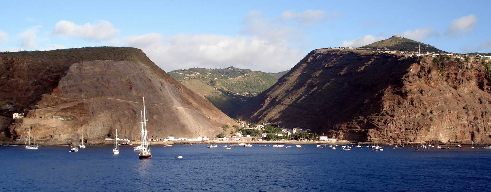 Harbour view, with sailing ship [Saint Helena Island Info:Where is St Helena?]