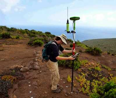 GPS recording equipment in use Saint Helena Island Info Historic Environment Record