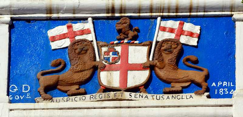 Crest above the Castle gate Saint Helena Island Info Historic Buildings