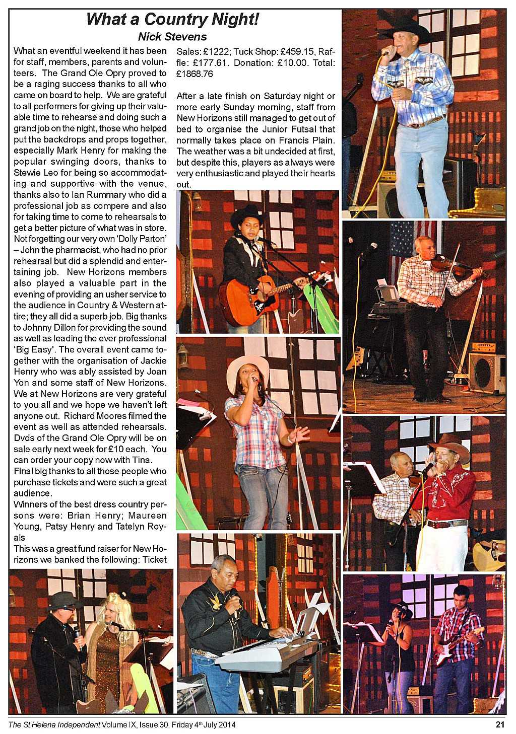 Grand Ole Opry writeup in St Helena Independent [Saint Helena Island Info:Country Music]
