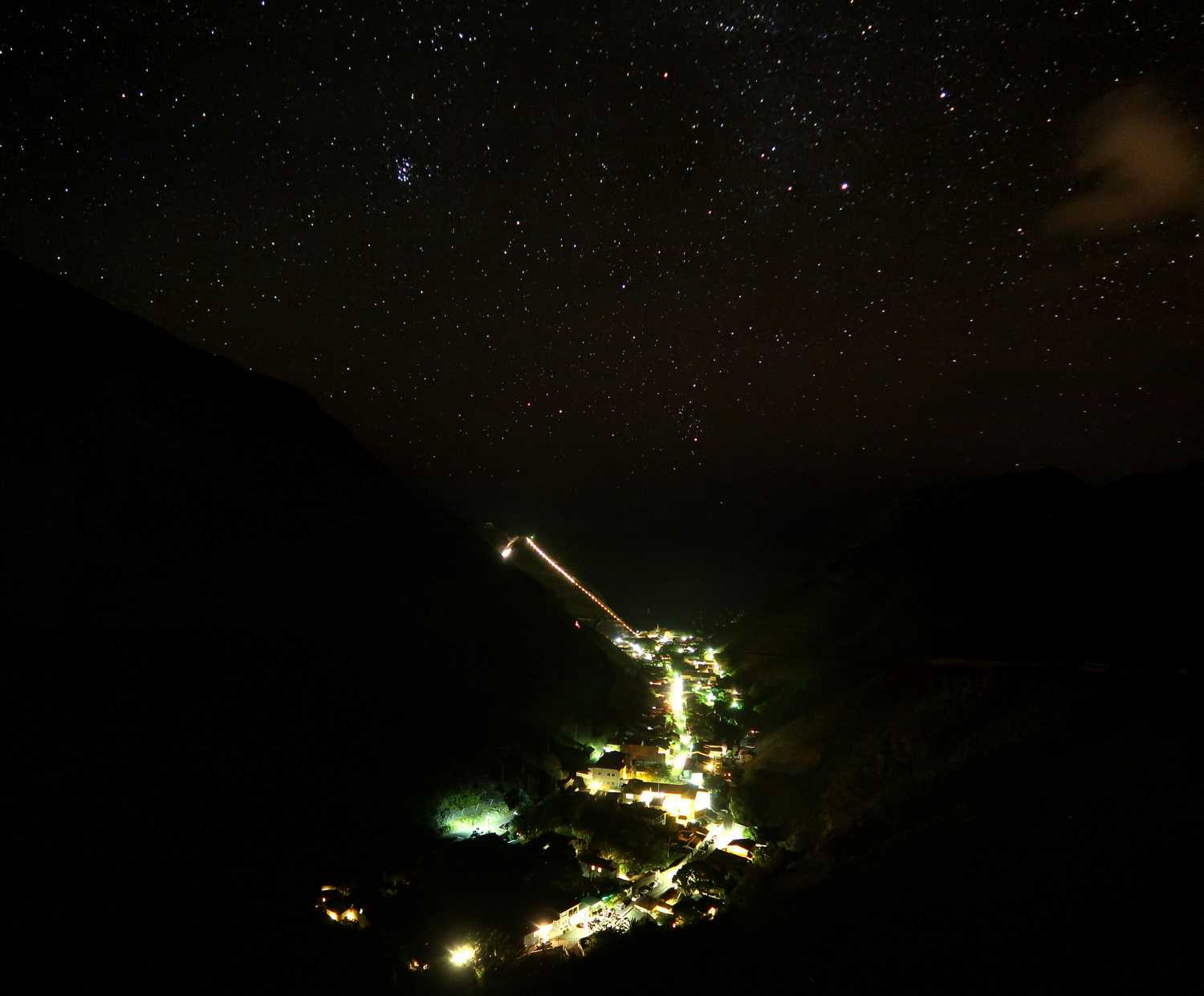 Jamestown at night with stars, clearly showing the Ladder illuminated