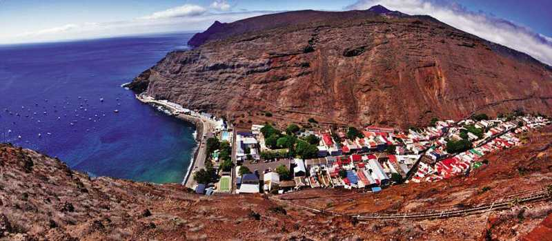 Wide-angle view of Jamestown from Signal House near the top of Jacob's Ladder Saint Helena Island Info