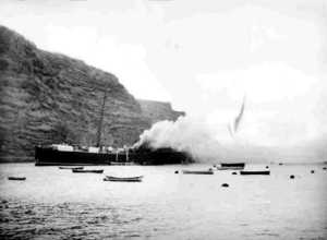 SS Papanui on fire 1911 Saint Helena Island Info Historic Images