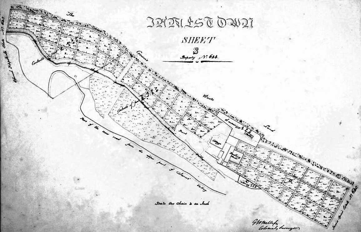 1830s plan. Heart Shaped Waterfall direction is Left; Central Jamestown is Right. Saint Helena Island Info Maldivia Gardens