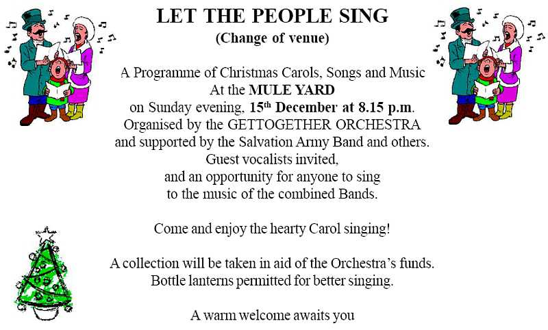 Mule Yard Christmas sing-song advert 2013 Saint Helena Island Info