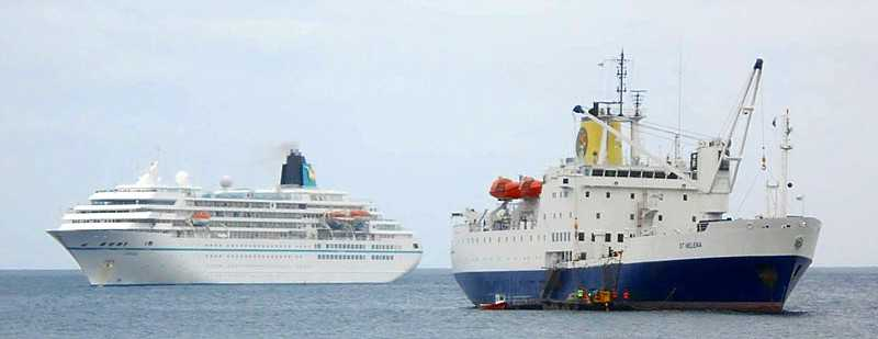 RMS dwarfed by MV Amadea