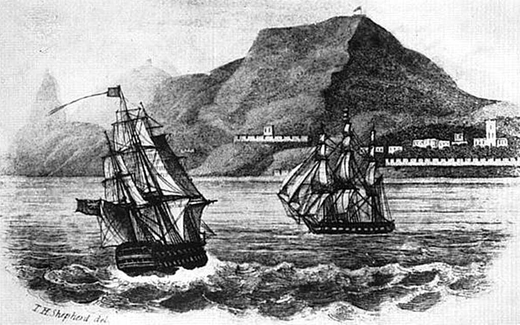 HMS Northumberland and HMS Myrmidon entering James Bay, St Helena Oct. 1815 [Saint Helena Island Info:Napoleonic Bicentenary]