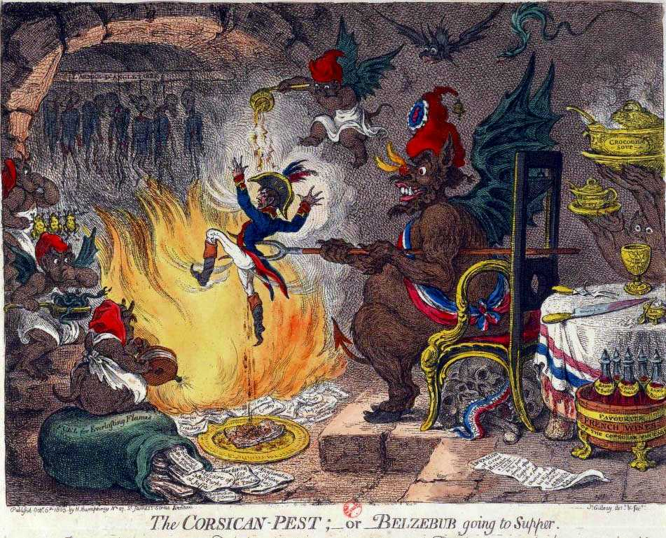 The Corsican pest or Beelzebub going to supper, James Gillray, 1803