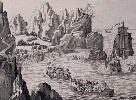 19th Century illustration of Napoleon's landing Saint Helena Island Info Exiles