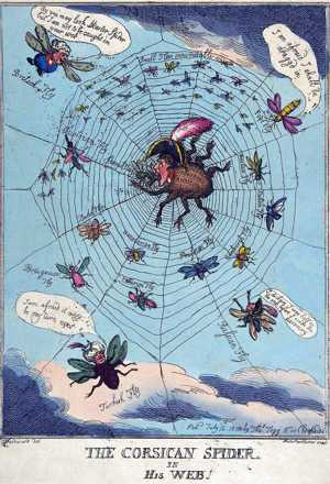 'The Corsican spider in his web' by Thomas Rowlandson, 1808