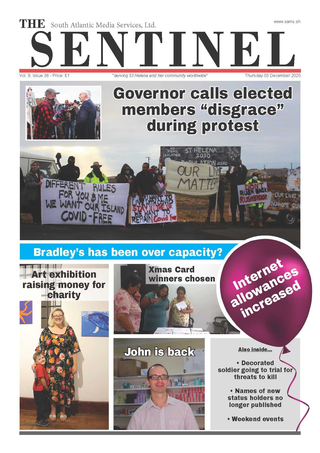 Sentinel front-page 27 July 2017 Saint Helena Island Info Newspapers