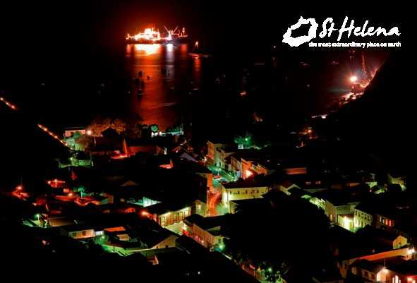 Jamestown at night with RMS St Helena 2011 Saint Helena Island Info Postcards of St Helena