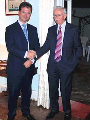 MP Mark Lancaster (left) and Governor Andrew Gurr Saint Helena Island Info Plantation House