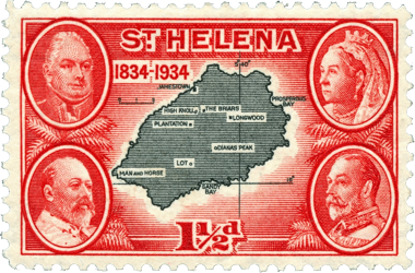 Map on 1934 postage stamp