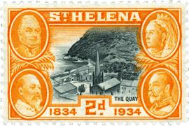 Centenary issue 1934 Quay Saint Helena Island Info Postage Stamps