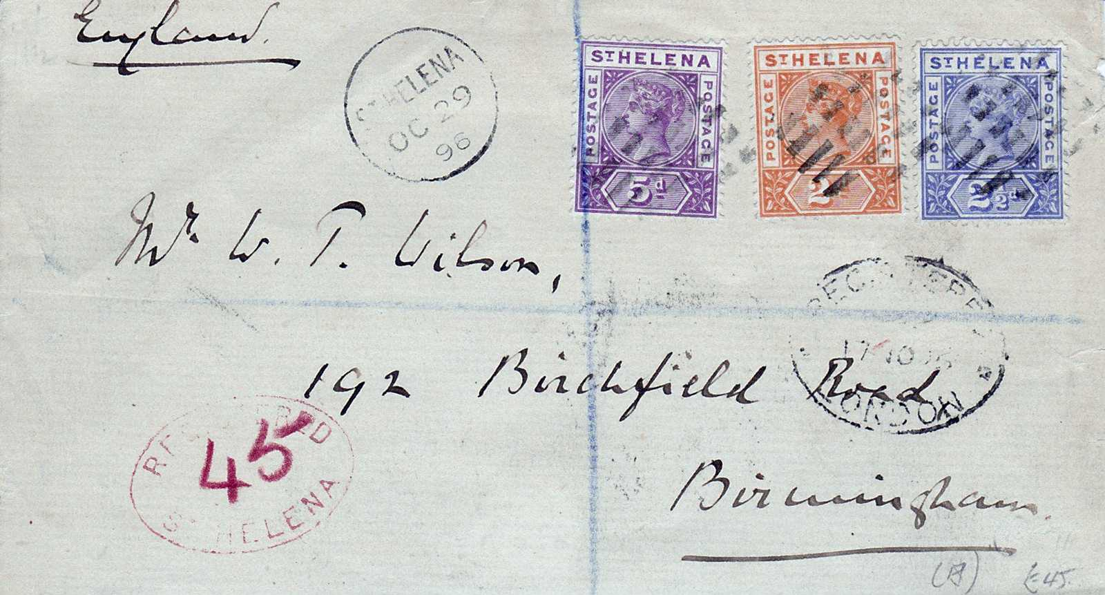We believe this is intended as a First Day Cover because the postage paid (£0.04/* */) far exceeds the cost of a letter to anywhere in 1896! Saint Helena Island Info Postage Stamps