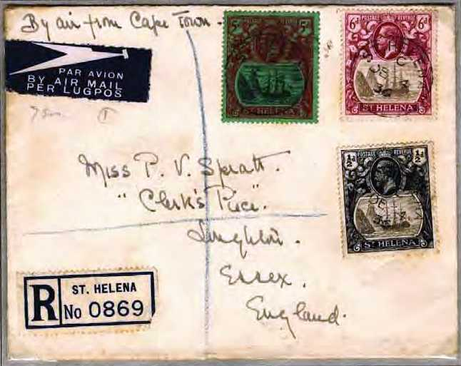 Early air-mail 1936 Saint Helena Island Info Postage Stamps