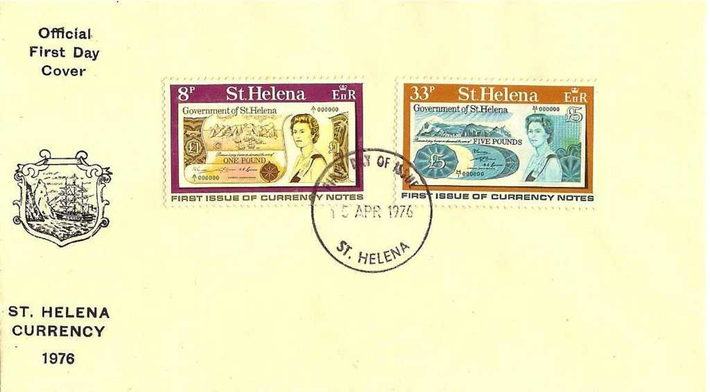 First Day Cover New Banknotes 1976 Saint Helena Island Info Postage Stamps