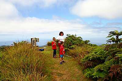 Walkers (!) and the post box on Diana's Peak Saint Helena Island Info