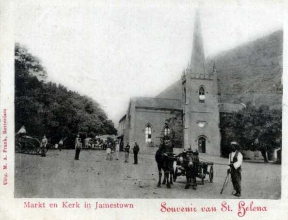 St. James' Church & Grand Parade prob. late 19th C in Dutch Saint Helena Island Info Postcards of St Helena