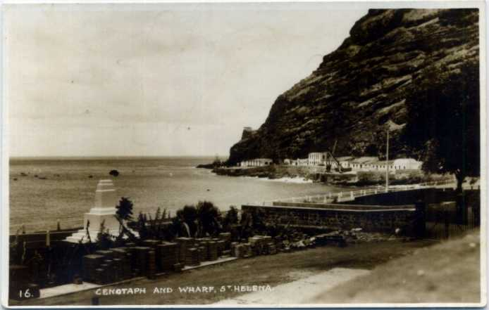 Cenotaph and Wharf prob. early 20th C Saint Helena Island Info Postcards of St Helena