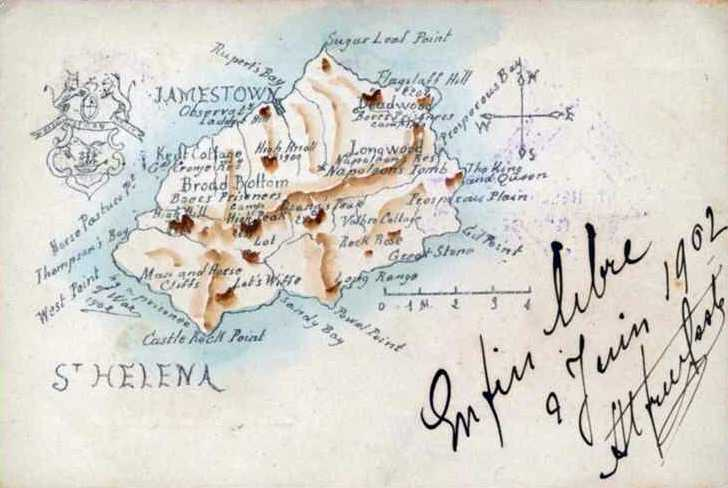 Map showing the Boer camp locations 1902 Saint Helena Island Info Postcards of St Helena