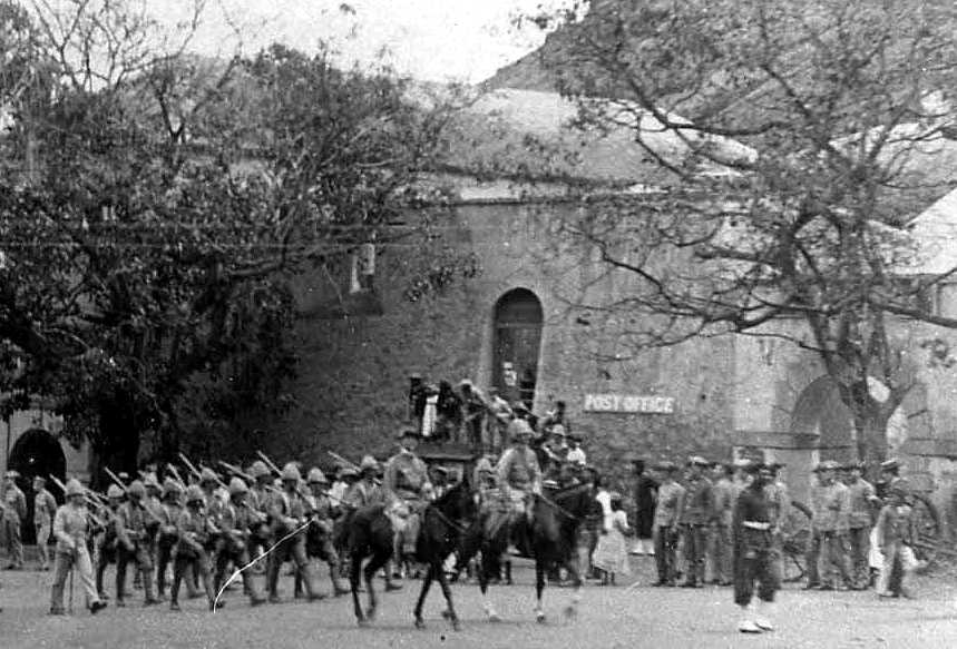 Post Office, 1900 (extract from a photograph showing the arrival of the Boer Prisoners in 1900)