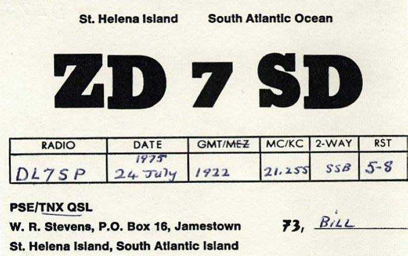 1975 QSL Card, Billy Stevens