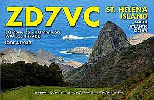 QSL card for ZD7VC [Saint Helena Island Info:Amateur ('Ham') Radio]