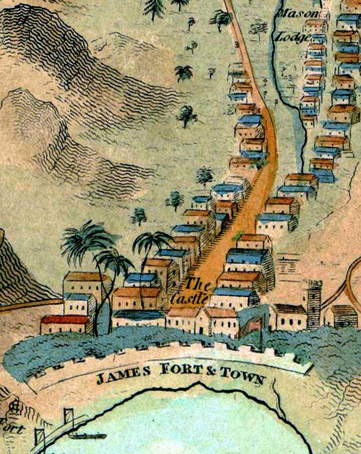 James Fort, Town and Church from Read's map of St Helena, 1817 [Saint Helena Island Info:A Brief History]
