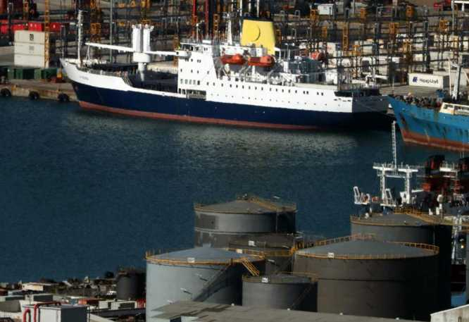 The second RMS St Helena lies berthed in Cape Town harbour, South Africa