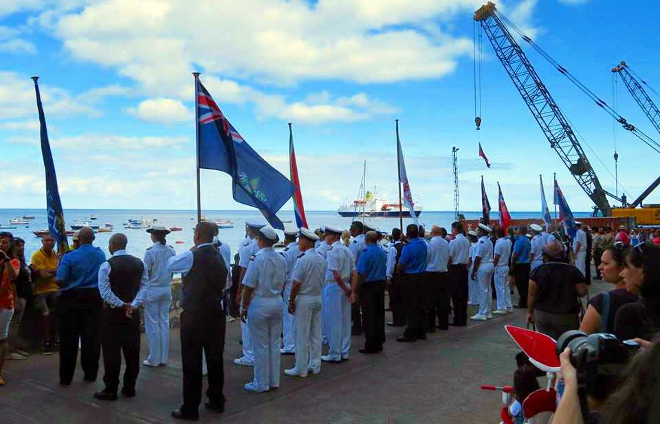 Farewell ceremony on the wharf
